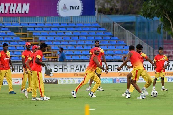 VB Kanchi Veerans team in practice session ahead of their clash against Ruby Trichy Warriors in Sankar Cement TNPL 2019 at ICL- Sankar Nagar Ground, Tirunelveli