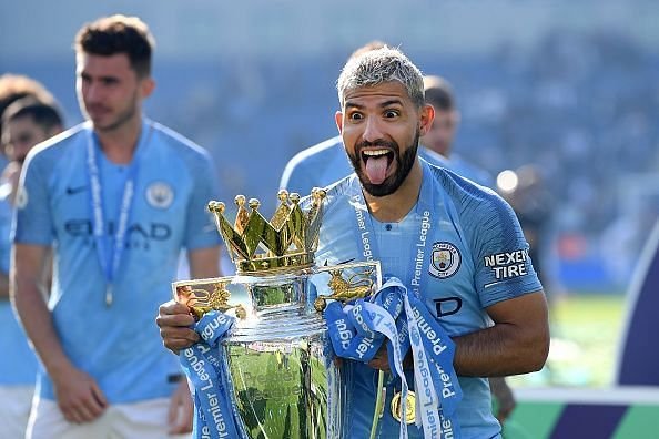 Sergio Aguero exults with Manchester City