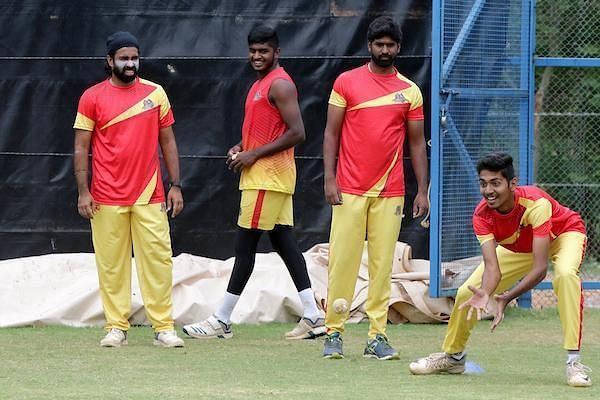 VB Kanchi Veerans team in practice session ahead of their clash in eliminator game against Siechem Madurai Panthers in the Sankar Cement TNPL 2019 at the ICL- Sankar Nagar Ground, Tirunelveli
