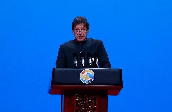 Imran Khan delivers a speech as Pakistan