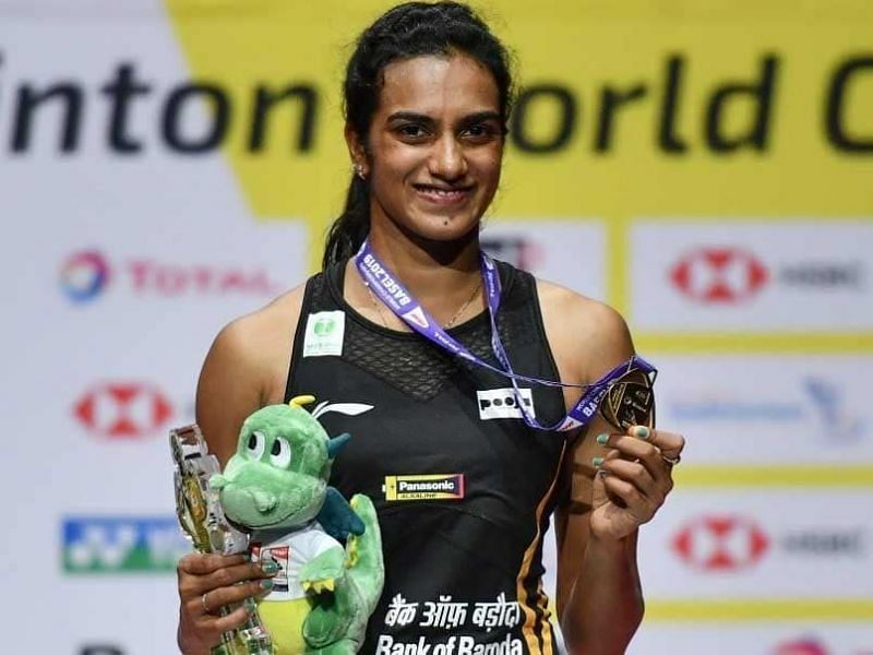 PV Sindhu with her gold medal