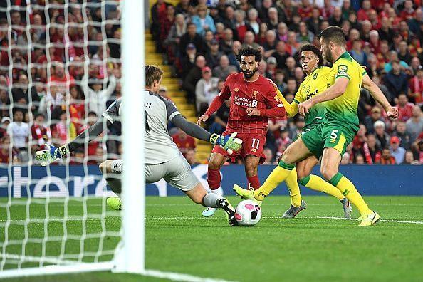Salah got off the mark this season against Norwich
