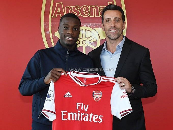Arsenal signed Nicolas Pepe (L) recently