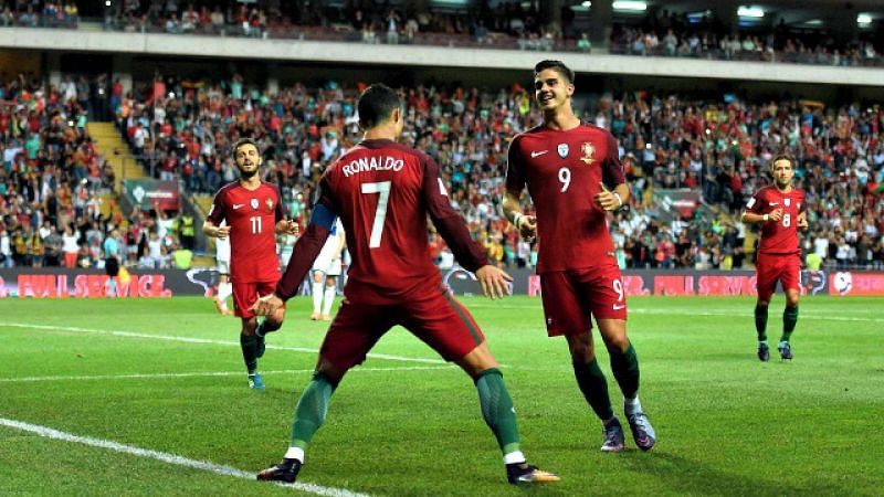 Ronaldo celebrates one of his goals against the Faroe Islands