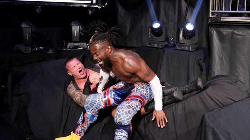 Kofi Kingston delivered a Boom Drop on Randy Orton