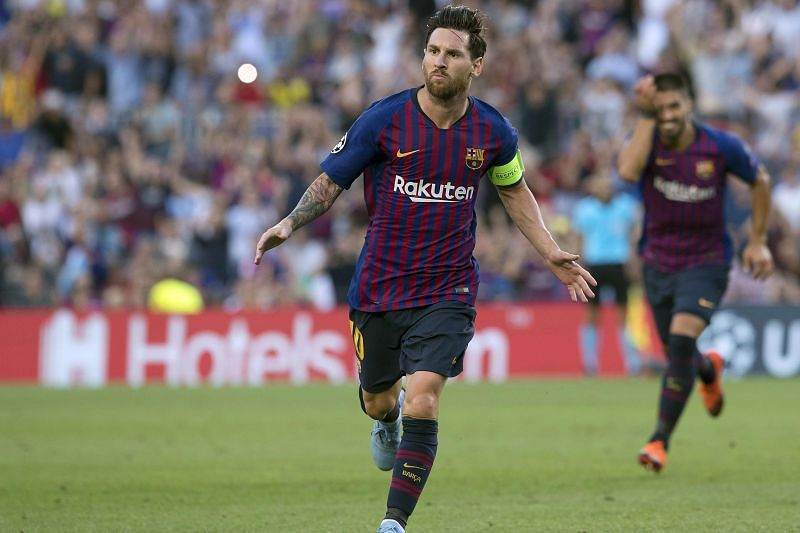 Messi celebrates his 8th Champions League hat-trick against PSV Eindhoven in 2018-19