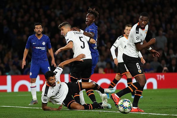 Tammy Abraham was muscled out by the Valencia defence