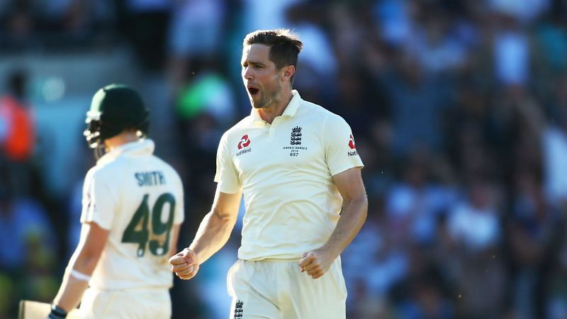 Chris Woakes celebrates the wicket of Steve Smith at The Oval