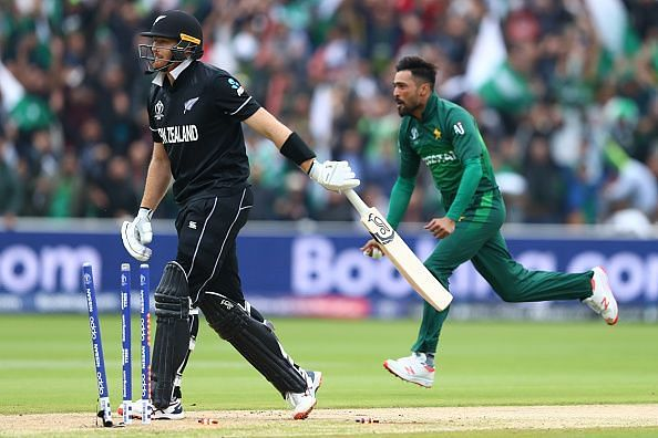 Amir celebrates a wicket versus New Zealand in the 2019 world cup