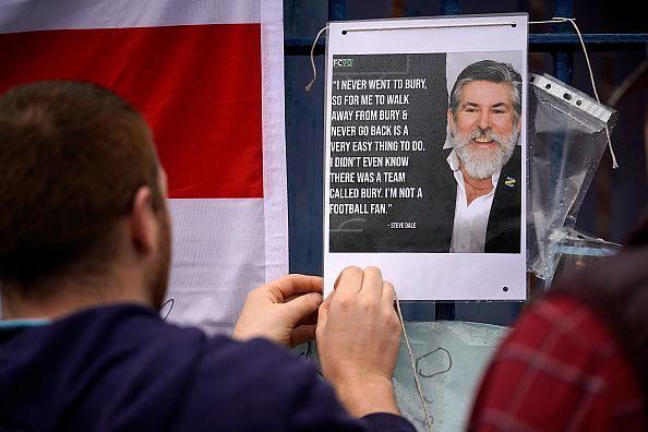 Bury Football Club fans protesting against owner Steve Dale