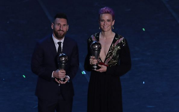 Megan Rapinoe stands alongside Lionel Messi at The Best FIFA Football Awards 2019