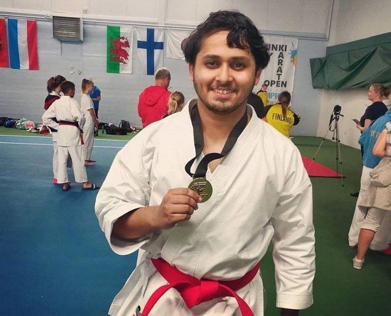 Bhaskar with his Helsinki Open Gold