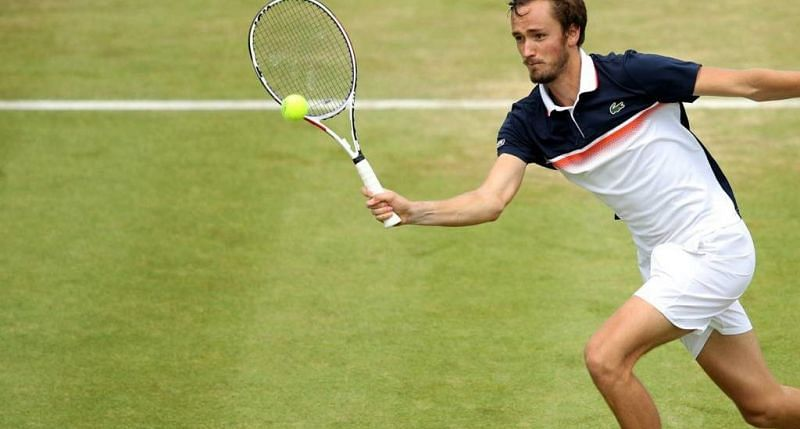 Medvedev in action at the Queens Club in London