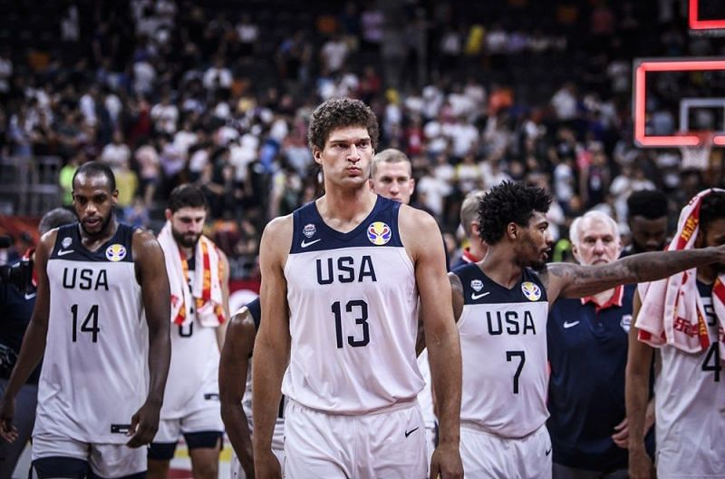 Dejected Team USA players after losing the game