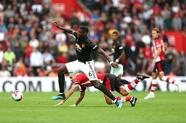 Paul Pogba in action for Manchester United in the 2019/20 season
