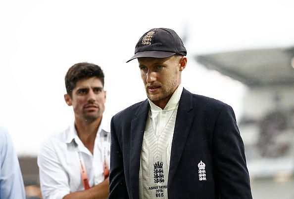 Root with his predecessor Alastair Cook.