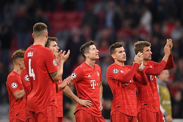 Jubilant Bayern players after the game