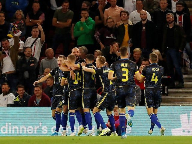 Kosovo celebrate one of their three goals on a night where they should have done better defensively