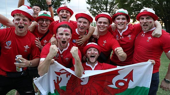 A group of Wales fans in Tokyo