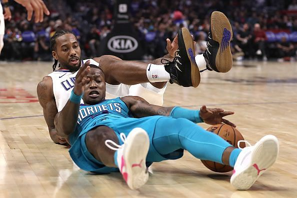 Action from Charlotte Hornets v Los Angeles Clippers match