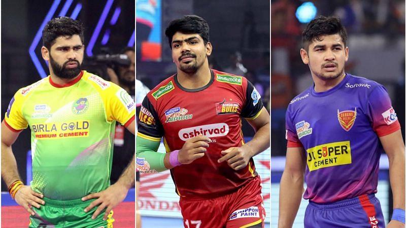 The top 3 raiders of Pro Kabaddi 2019 - Pardeep Narwal (left), Pawan Sehrawat (centre) & Naveen Kumar (right)