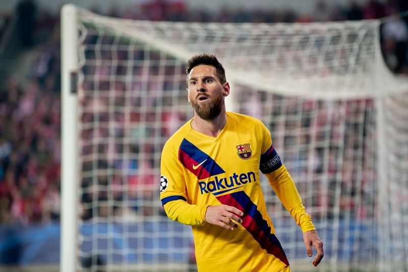 Lionel Messi scored his record-extending 67th group-stage goal in the Champions League against Slavia