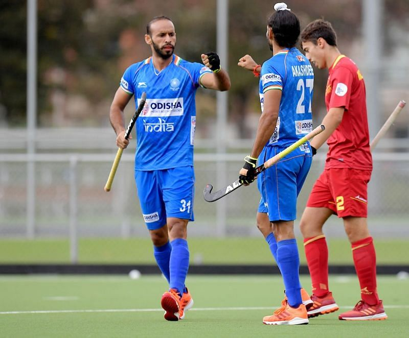 Ramandeep Singh in action against Belgium