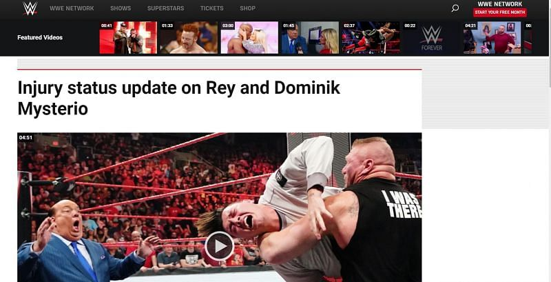 Article published on WWE