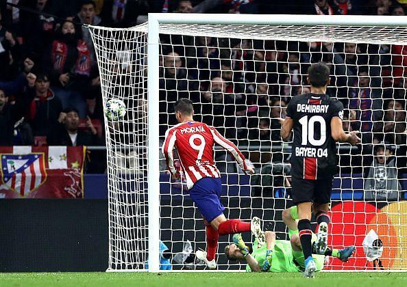 Atletico Madrid vs Bayer Leverkusen - Alvaro Morata knocks the ball into the net