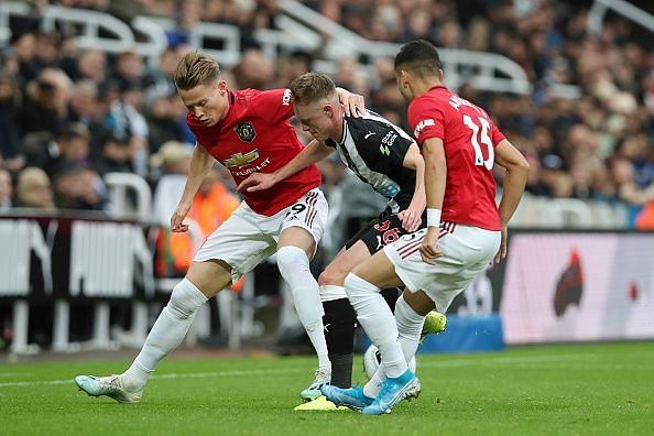 Newcastle United and Manchester United produced a drab first half