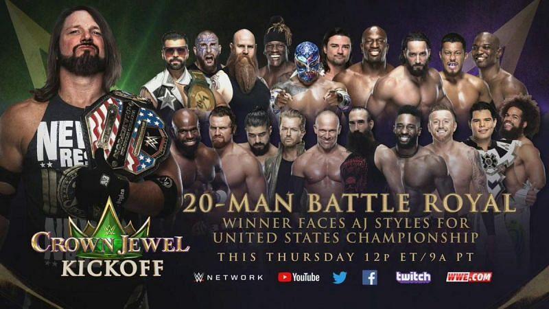 क्राउन ज्वेल में 20 मैन बैटल रॉयल होने वाला है और इसके विजेता को चैंपियनशिप मैच मिलेगा