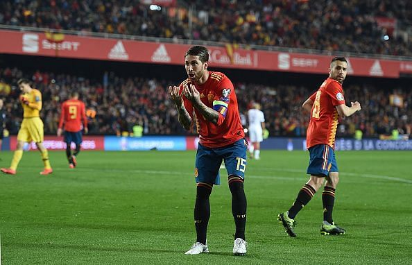 Sergio Ramos celebrates against Norway in the first leg