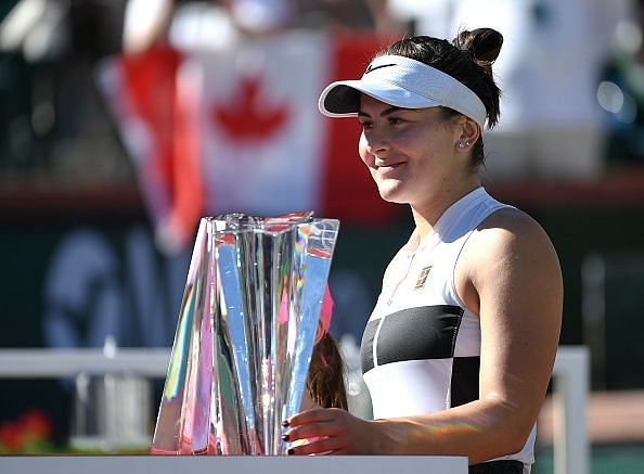 Andreescu with her maiden title at Indian Wells earlier this March