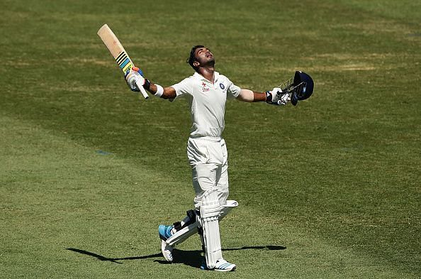 KL Rahul celebrates his maiden hundred