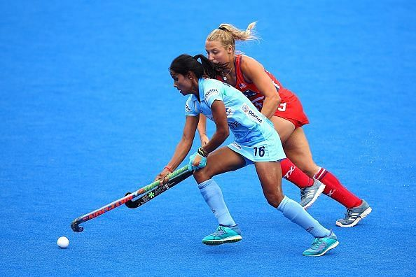Vandana in action against the USA at the London World Cup