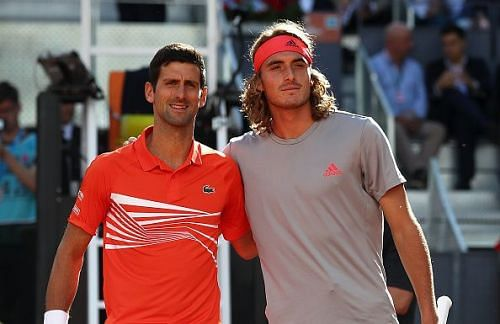 Djokovic (left) will take on Tsitsipas for the 2020 Dubai Open title