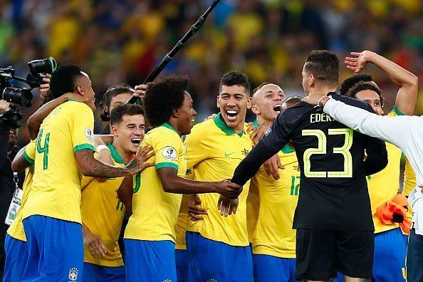 The Brazilian players celebrate their Copa America triumph.