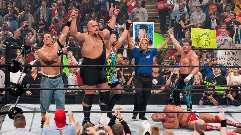 John Cena, Big Show, Rob Van Dam, and Eddie Guerrero teamed up in 2004