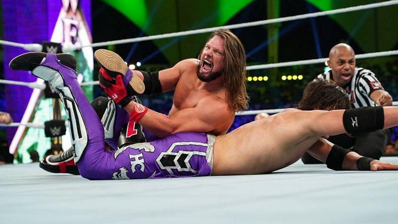 AJ Styles locking in the Calf Crusher at Crown Jewel