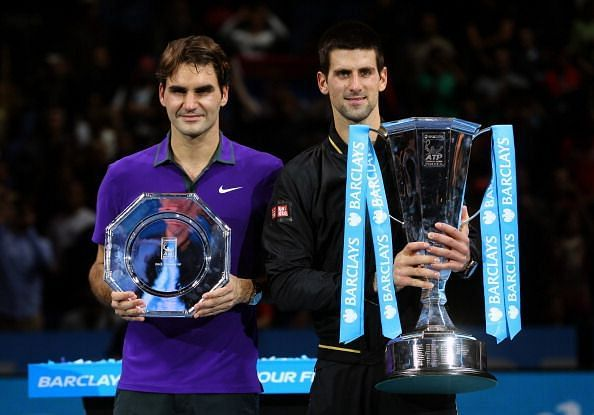 Novak Djokovic after winning the 2012 ATP Finals by defeating Roger Federer in the final
