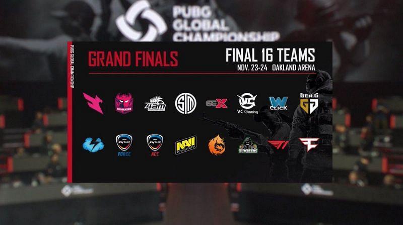 The final 16 teams.