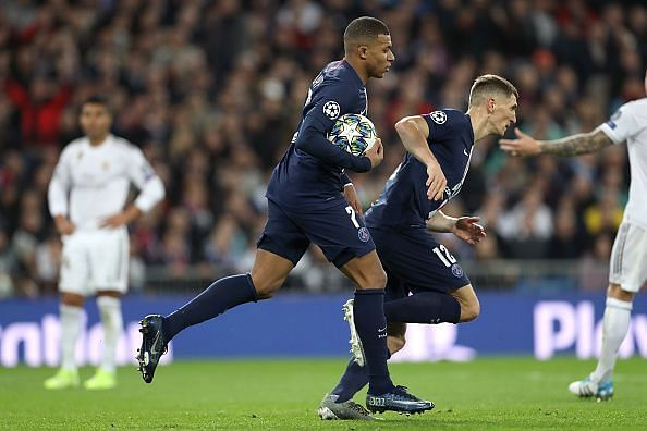 Mbappe wheels away with the ball in tow after converting from close-range to halve the deficit late on