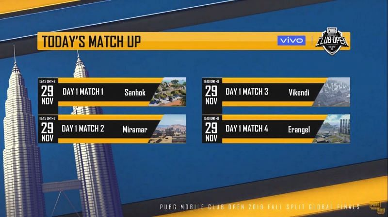 PMCO Fall Split 2019 Global Finals Day 1 schedule (Image: PUBG Mobile Esports, YouTube)