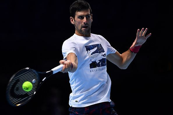 Novak Djokovic practising at the O2 Arena ahead of the ATP Finals 2019