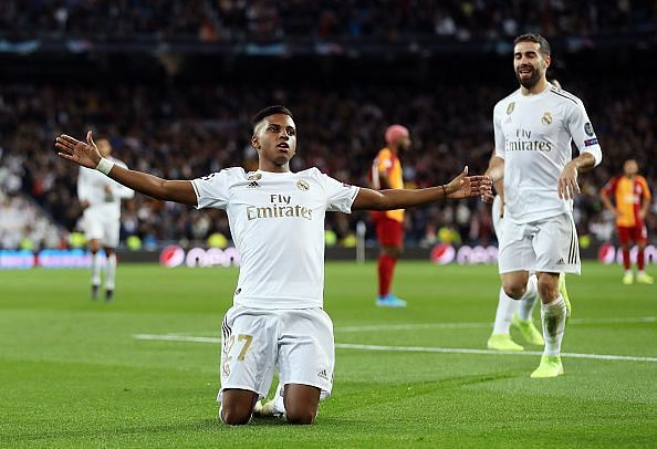 Rodrygo celebrates one of his three goals as Real Madrid thumped Galatasaray on MD4 of this year