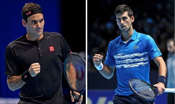 Roger Federer (left) and Novak Djokovic