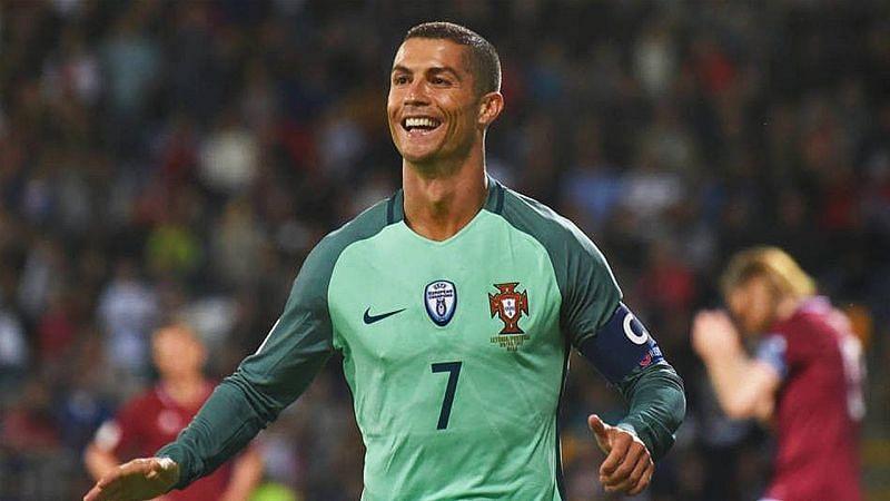 Cristiano Ronaldo rejoices after scoring against Latvia.