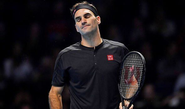 A disappointed Roger Federer in his first match against Dominic Thiem in ATP Finals-2019