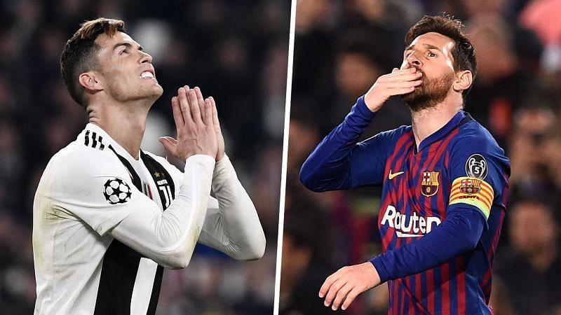 Cristiano Ronaldo (left) and Lionel Messi (right).
