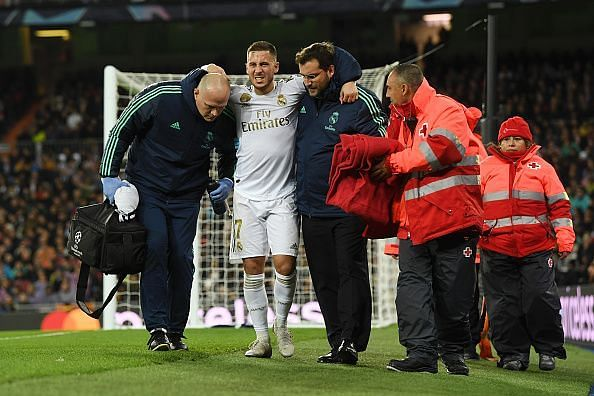 Hazard had to be helped off the pitch after his compatriot inflicted an ankle injury on him in the second-half